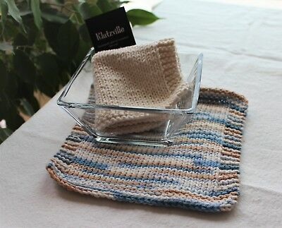 Hand Knit Cotton Wash Cloths Many Colors-Sold Individually