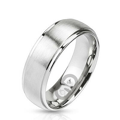 Classic Traditional Brushed Center Wedding Band Stainless Steel Ring Size 5-14.5