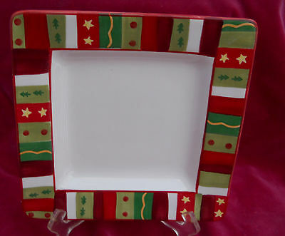 TABLETOPS GALLERY WINTERLAND SALAD PLATE S SQUARE HOLIDAY CHRISTMAS STARS TREE