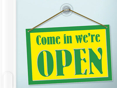 N1087 Open / Closed Double Sided Reversible Sign, plastic hanging business plate