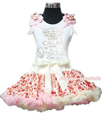 Rhinestone Keep Calm And Sparkle White Top Beige Hearts Girl Pettiskirt Set 1-8Y