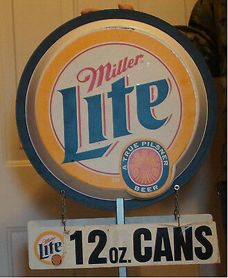 Miller Lite Beer Sign Double Sided