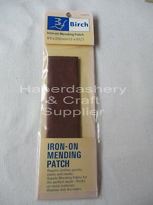 Iron On Fabric Repair Mending Patch*brown*80Mmx250Mm