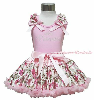 Light Pink Ruffle Bow Top Rhinestone Princess Floral Rose Girl Pettiskirt 1-8Y