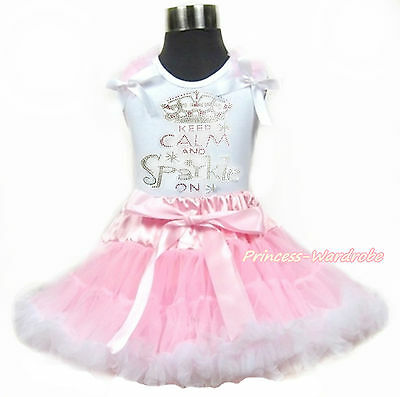 Rhinestone Calm And Sparkle White Top Light Pink White Girl Pettiskirt 1-8Year