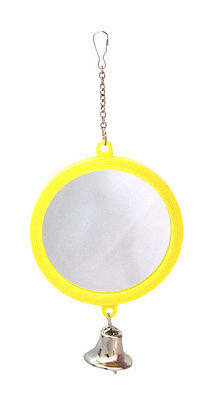 BUDGIE TOY Double Sided Mirror & Bell On Chain Large Colours Will Vary