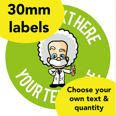 30mm personalised stickers einstein science genius teacher class award label