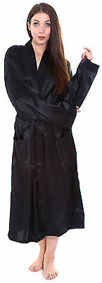 Black Unisex Sleepwear Home Silk Satin Long Pajama Robe Bathrobe