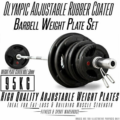 Olympic Barbell & Weight 95KG Set Rubber Coated Plates Fitness Home Gym exercise