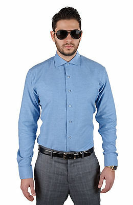 Tailored / Slim Fit Mens Blue Dress Shirt Wrinkle-Free Spread Collar AZAR MAN