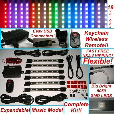 Million Color 5050 SMD LED Neon Motorcycle Lights Kit 6 Tubes wireless Remote 36