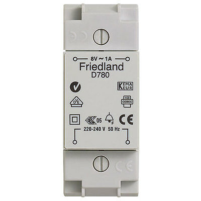 Friedland D780 8V AC 1A Bell / Chime Transformer - DIN rail mountable