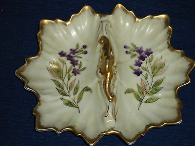 """Vintage 8"""" flower painted DIVIDED CANDY DISH w/Gold trim (Crossed Arrows symbol)"""