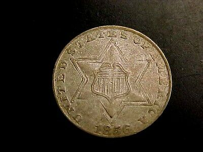 RARE 1856 3c THREE CENT SILVER PIECE XF-AU BUY IT NOW OR MAKE OFFER