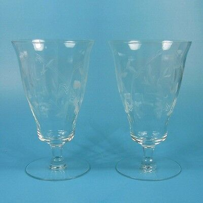 2 Vintage Crystal Iced Tea Glasses Optic Glass Cut Leaves Vine Lines UNK1349