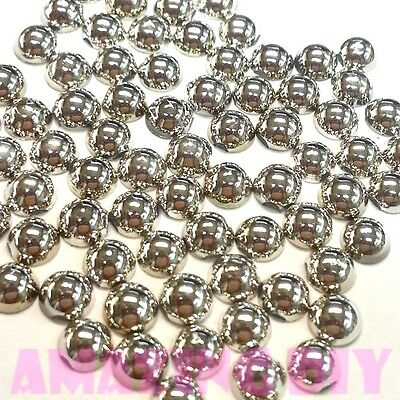 200 4mm  Shiny Silver DIY Art faux round Pearl Flat back Phone Deco Cabochon