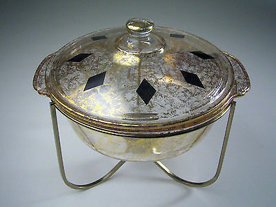 Vintage FIRE KING Covered CASSEROLE Server GOLD & BLACK DIAMOND w/WARMING STAND!