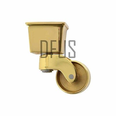 "2x Square Brass Cup Castors. 1 1/4"" cup. Replacement Vintage style BRASS castor"