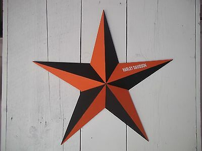 """Heavy Duty Metal Star 10"""" Painted Black/Orange with Harley Davidson on Wing"""