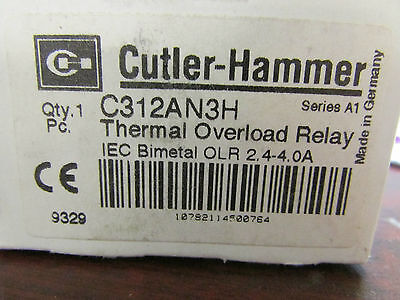 Cutler Hammer C312AN3H Thermal Overload Relay Series A