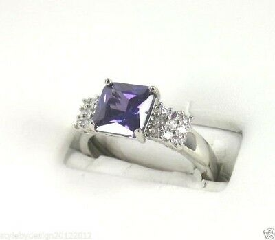 "R#2418 ""simulated"" Purple Amethyst gemstone solitaire ladies silver ring size 8"