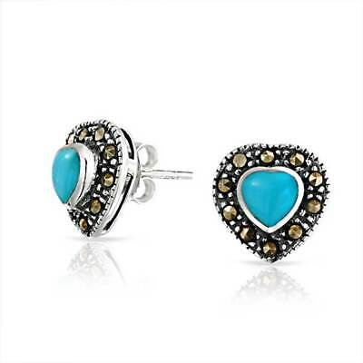 Bling Jewelry 925 Silver Antique Style Marcasite Turquoise Heart Stud Earrings