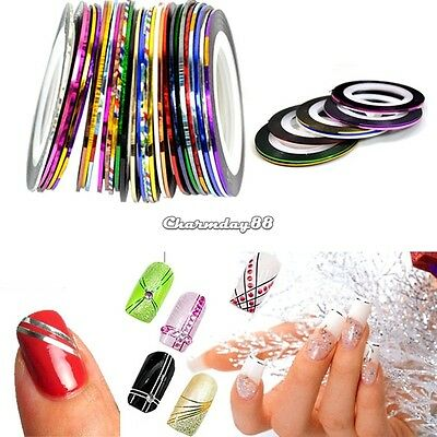 30 Rolls Mixed Colors Striping Tape Line Nail Art Decoration Sticker DIY C1MY
