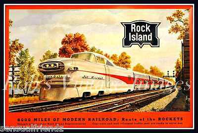 Rock Island Jet Rocket Vintage Railroad Poster 1950s-60s Train Locomotive 13x19