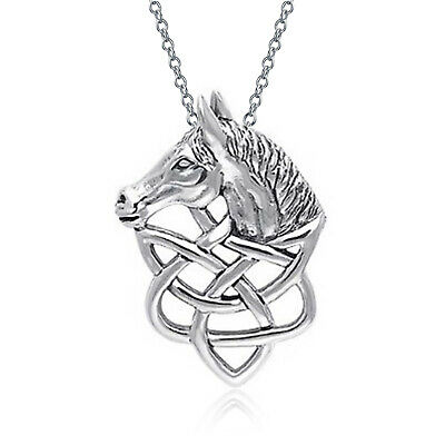 Thoroughbred Horse Head Celtic Equestrian Lover Sterling Silver Pendant Necklace