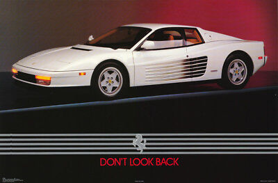 Poster: Cars : White Ferrari - Don't Look Back - Free Shipping ! #1605  Rw10 N