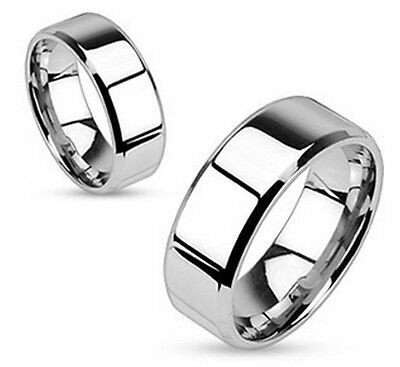 316L Surgical Steel Flat Band Ring with Mirror Polished Finish