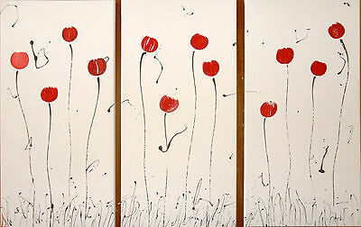 ABSTRACT CANVAS PAINTINGS 3 RED POPPIES DEE'S FUNKY ART