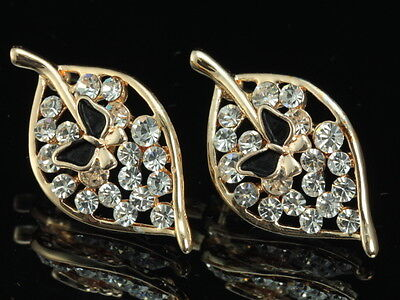 gorgeous clear Crystal black enamel butterfly on leaf stud gold plated Earrings