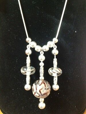 """Sterling Silver Art Glass Drop Necklace, 18"""""""