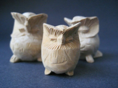 Family of WHITE / NATURAL Owl Wooden Statue - Suar Wood - Set of THREE