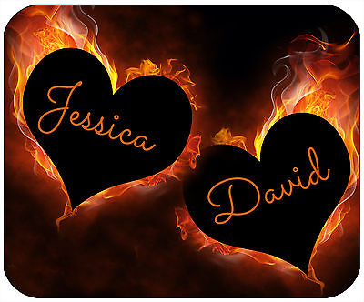 Mouse Pad Custom Thick Mousepad - Heart Flames -Personalize With Any Text