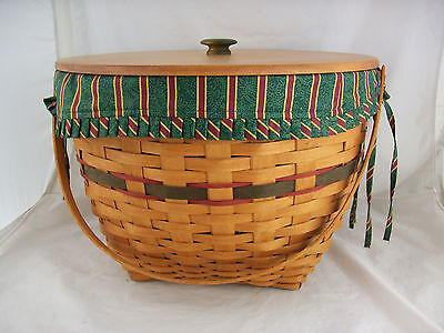Longaberger 1994 Holiday Hostess Sleigh Bell Basket Combo w Lid Imperial Stripe