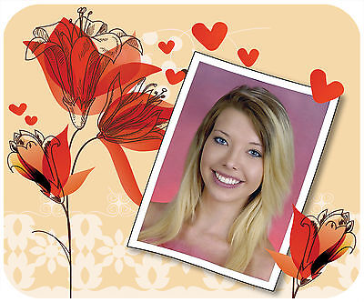 Photo Mouse Pad Custom With Your Picture Thick Mousepad - Red Flowers