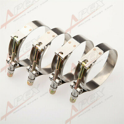 """4PCS 2.5"""" inch Turbo Pipe Hose Coupler T-bolt Clamps Stainless Steel 67/75mm"""