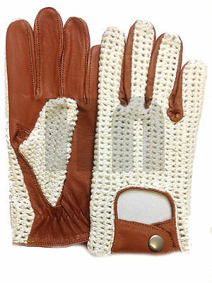 Men's Classic Leather Driving Gloves Vintage Retro Heritage Chauffeur Fashion