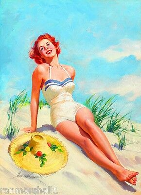 1940s Pin-Up Girl Sunning On Cape Cod Beach Picture Poster Print Art Pin Up