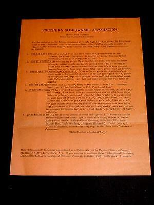 1959 ARKANSAS SOUTHERN SIT DOWN RULES NEGRO BLACK CAPITAL CITIZEN'S COUNCIL JOKE