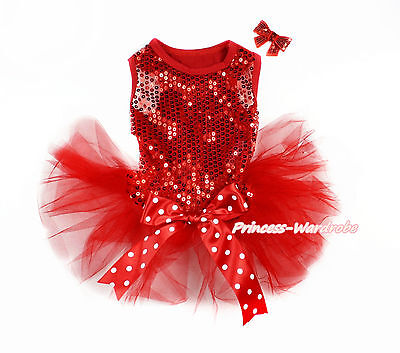 Hot Red Sparkle Sequins Minnie Bow Gauze Skirt Sleeveless Dress Pet Dog Outfit