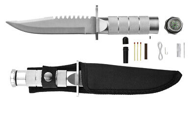 "Stainless Steel Survival Knife 8"" with Compass & Survival Kit"