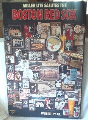 "Hard to Find 30""x20"" Miller Lite Salutes Boston Red Sox Wood Plaque 1983 75 Yrs"