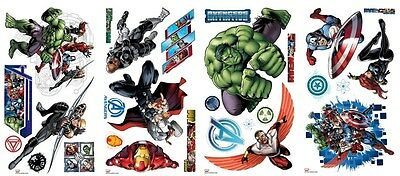 28 New AVENGERS ASSEMBLE WALL DECALS Marvel Room Stickers Boys Bedroom Decor