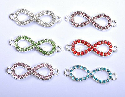 "10pcs Charms Crystal Rhinestone Pave ""8"" Connectors Links Spacer Findings"