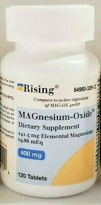Rising Pharmaceuticals Magnesium Oxide 400mg 120ct White Tablets