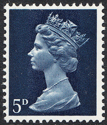 GB QEII 5d Deep Blue Machin Definitive Head B SG 735Ee Unmounted Mint