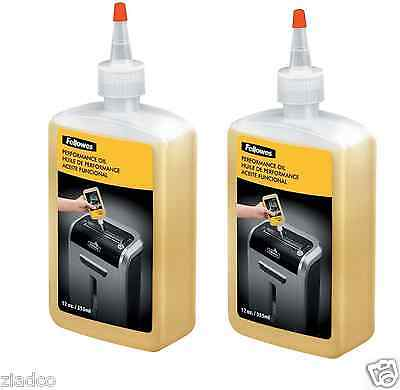 2 pk - Fellowes Shredder Oil, 12 oz. Bottle with Extension Nozzle Lubricant New